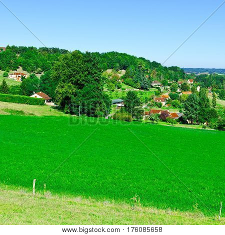 Village Surrounded by Fields in the French Limousen