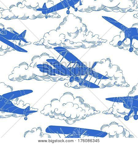 Seamless pattern with clouds and airplanes. Hand drawn sky vector illustration