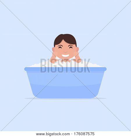 Vector illustration of a cartoon little baby bathes in a small bath. Flat design. Child boy in foam and blisters is sitting in the bathroom.