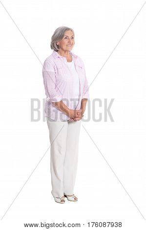 Portrait of a beautiful happy elderly woman on a white background