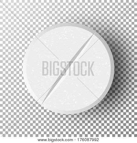 White 3D Medical Pill Vector Illustration. Realistic Antibiotic Round Tablet With Soft Shadow In Front On Checkered Background