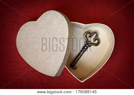 Valentines Day gift: Key in heart shaped gift box