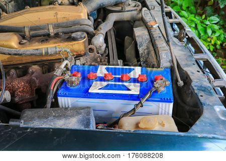 close up battery old in car .