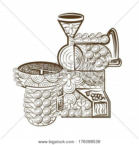 line art design coloring page roaster coffee