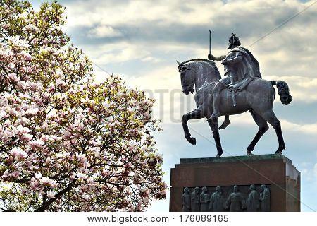 Statue of king Tomislav and magnolia tree Zagreb Croatia