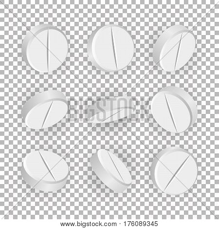 White 3D Medical Pills Or Drugs Vector Illustration. Set Of Realistic Tablets Isolated On Checkered Background. Vitamin