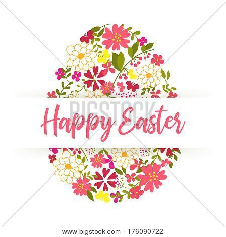 Happy Easter lettering. Easter Egg decorated with different floral elements pattern. Holiday design isolated on white background. Vector illustration.