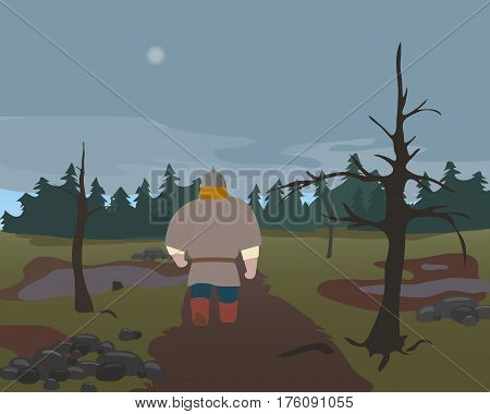 Russian warrior is walking along a swamp. A set of cartoon characters. Heroes of national legends. Characters of the Slavic epos. Thematic collection for design. Vector background EPS10