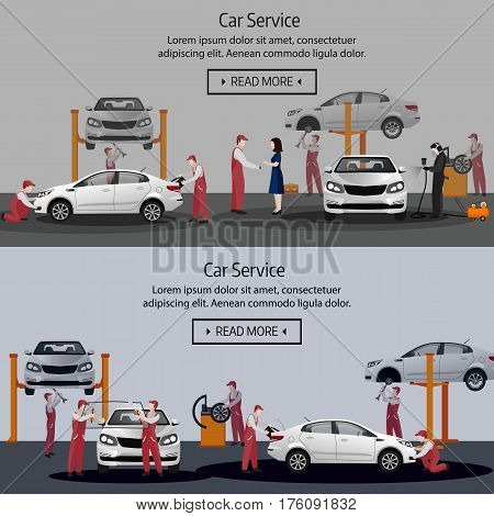 Car Repair, Flat Horizontal Banner, Maintenance Of Tires, Workers In The Process Of Car Repair, Pain