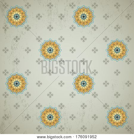 Seamless vector background. Vintage floral calico pattern. This ornament is a part of collection oriental patterns.