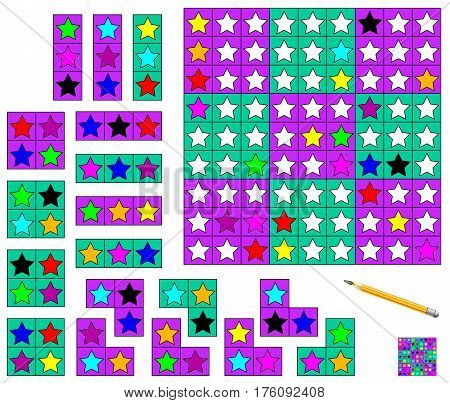 Logic Sudoku game. Need to complete the puzzle using the remaining details and paint the stars in corresponding colors. Vector image.