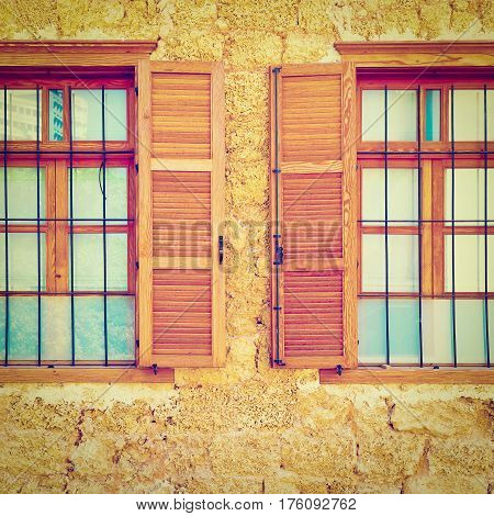 Windows of Old Building after Reconstruction in Tel Aviv Instagram Effect