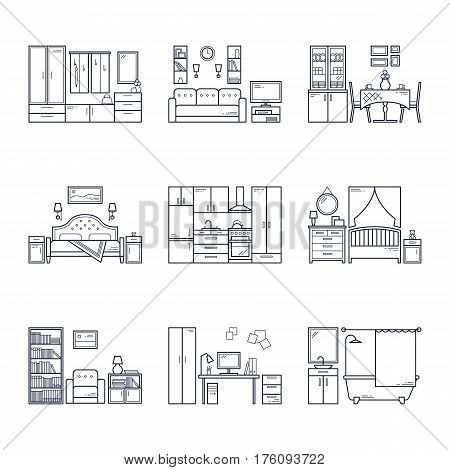 Set of vector interior design rooms in line black and white style. Illustration of living room, hallway, dining room, bedroom, kitchen, nursery, cabinet, workspace, bathroom