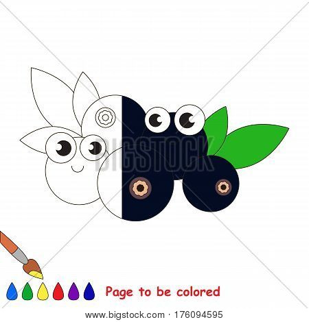 Bilberry to be colored, the coloring book to educate preschool kids with easy kid educational gaming and primary education of simple game level.