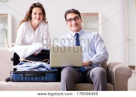 Couple preparing for the travel trip