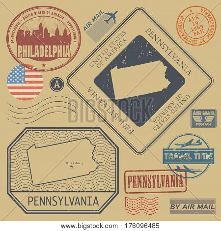 Retro vintage postage stamps set Pennsylvania United States theme vector illustration
