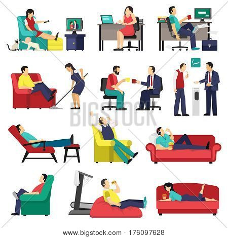 Set of lazy and tired people in office workplace and at home on sofa isolated vector illustration