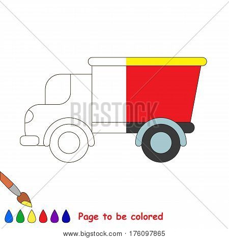 Lorry to be colored, coloring book to educate preschool kids with easy kid educational gaming and primary education of simple game level. The colorless half of picture to be colored by sample half.