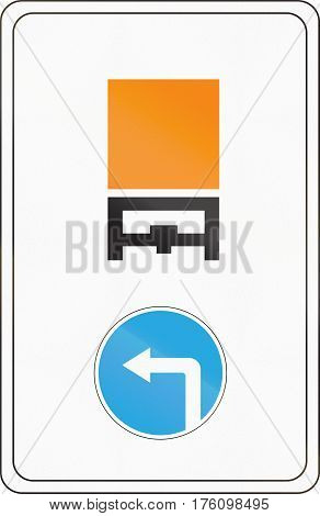 Belarusian Regulatory Road Sign - Vehicles Carrying Dangerous Goods Must Turn Left