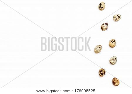 A Few Easter Quail Eggs On The Right On A White Background.