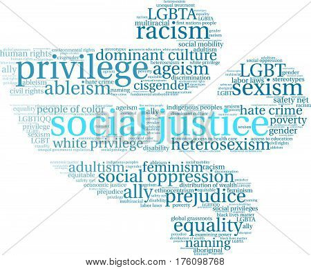 Social Justice word cloud on a white background.