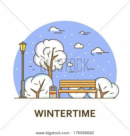City landscape with bench and street lamp in public park. Vector illustration in flat line style. Season architecture design for banner or card. Winter nature background. Outdoor activity concept