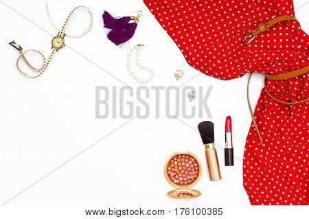 Feminine Red Dress, Earrings, Watches, Pearl Bracelet, Makeup Brush And Lipstick.