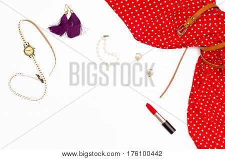 Feminine Red Dress, Earrings, Watches, Pearl Bracelet And Lipstick.