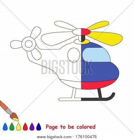 Copter to be colored, the coloring book to educate preschool kids with easy kid educational gaming and primary education of simple game level. The colorless half of picture to be colored by sample.