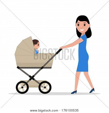 Vector illustration cartoon mother riding a child in a baby carriage. Isolated white background. Flat style. Woman is rolling a stroller with her kid.