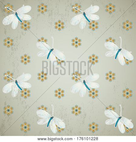 Seamless vector background. Vintage floral calico pattern. Flowers and lacewing. This ornament is a part of collection oriental patterns.