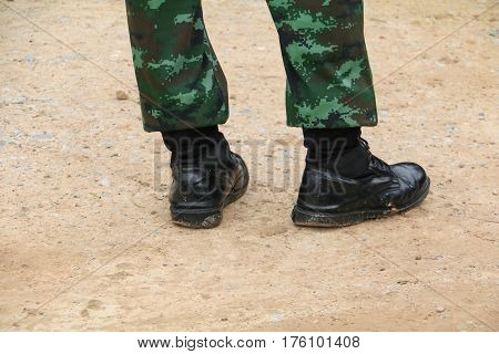 Army combat uniform  soldier  stand on the ground
