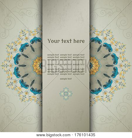 Vector card. Round vector floral pattern on vintage plaster background. Hosta plant. Place for your text.