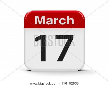 Calendar web button - The Seventeenth of March - St. Patrick's Day three-dimensional rendering 3D illustration