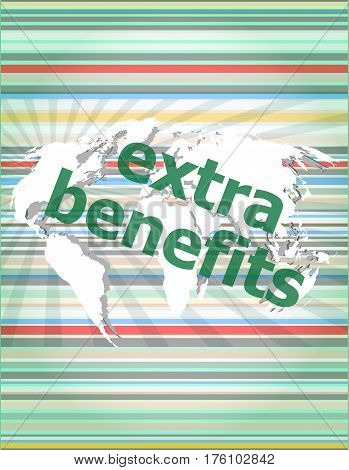 Extra Benefits Slogan Poster Concept. Financial Support Message Design. Concept Of Citation, Info, T