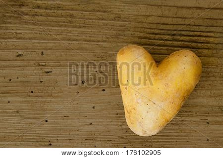Heart shaped potato on an old spruce wood board from the sixteenth century with many wormholes. Edible tuber of nightshade Solanum tuberosum, a starchy crop. Macro food photo close up from above.
