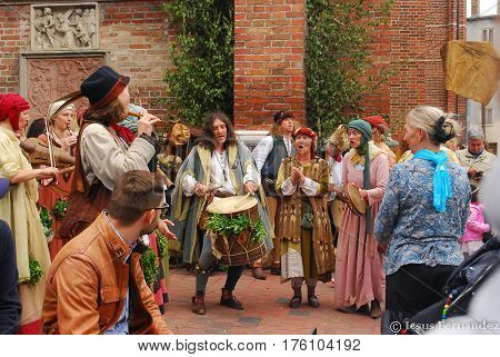 Landshut,Germany-June 30,2013: A group of musicians in medieval clothes play during the Landshuter Hochzeit medieval pageant
