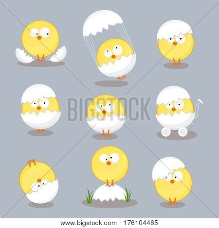 Christmas chickens in shell set. Traditional symbol of religious holiday isolated on white background. Cartoon style vector illustration