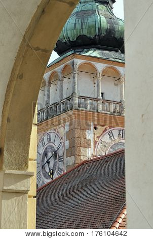 clock tower in area of Mikulov castle in Czech republic
