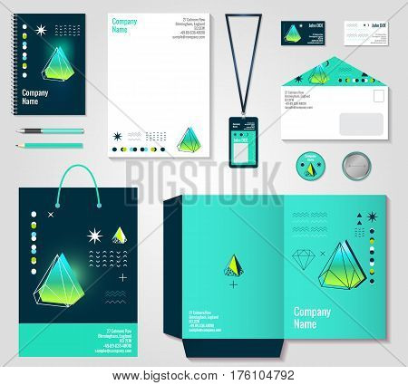 Corporate identity design with gradient green polygonal crystals elements items set with envelope card badge vector illustration