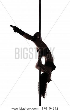 Pole dancer woman silhouette isolated on white background