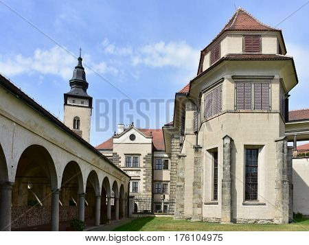 castle in town Telc,by UNESCO protected site in Czech republic