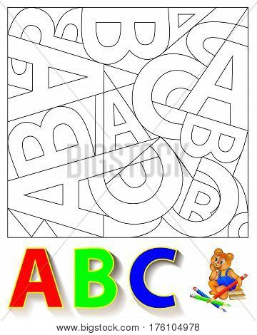 Exercise for children. Need to find the hidden letters and paint them in relevant colors. Vector image.