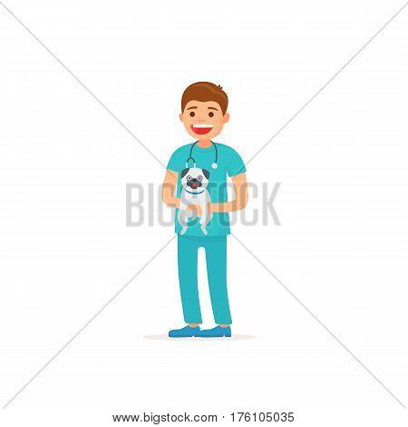 Veterinarian. Man vet holds a dog. Vector illustration in cartoon style.