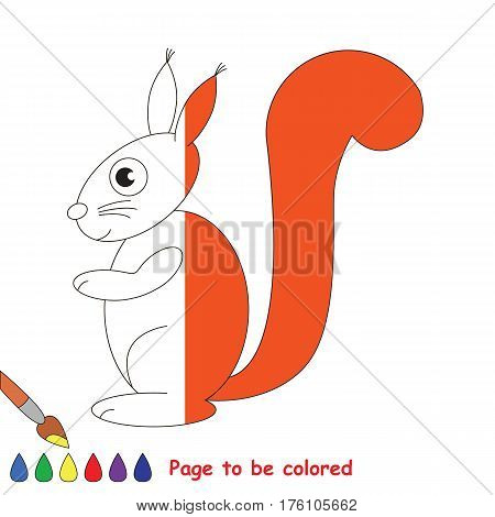 Red Squirrel to be colored, the coloring book to educate preschool kids with easy kid educational gaming and primary education of simple game level, colorless half to be colored by sample half.