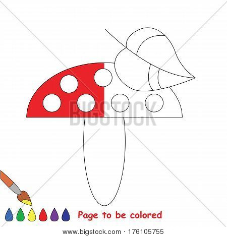 Red mashroom to be colored, the coloring book to educate preschool kids with easy kid educational gaming and primary education of simple game level, color the colorless halp by sample half.