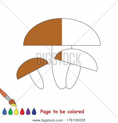 Brown Mashroom to be colored, the coloring book to educate preschool kids with easy kid educational gaming and primary education of simple game level, color the colorless halp by sample half.