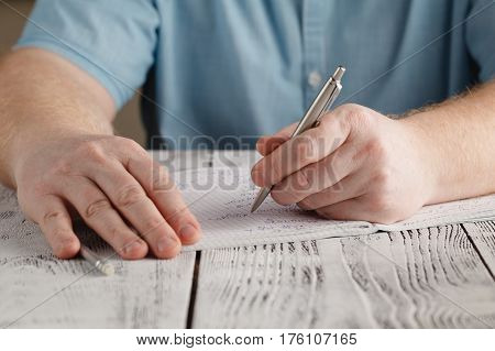 Close Up Left Male's Hand Writing On Paper, Writing Messy Math, Student Holding Pen Doing Homework A