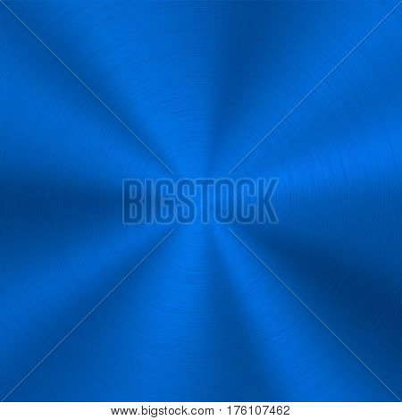 Blue metal technology background with abstract polished, brushed circular concentric metal texture, chrome, silver, steel, for design concepts, web, posters, wallpapers and prints. Vector illustration
