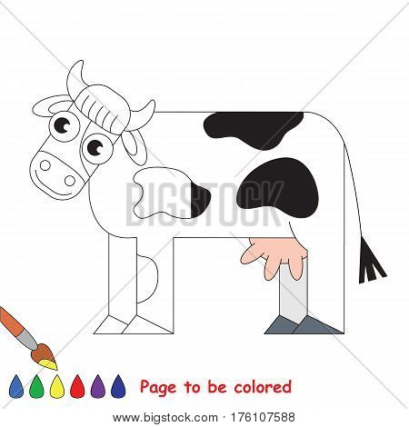 Cow to be colored, the coloring book to educate preschool kids with easy kid educational gaming and primary education of simple game level, colorless half to be colored by sample half.